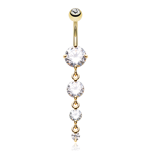 Golden Brilliant Gem Cascade CZ Belly Button Ring