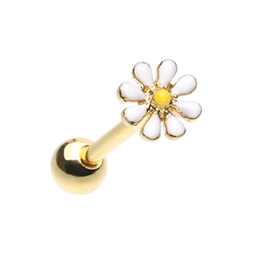Golden Daisy Flower Tongue Ring