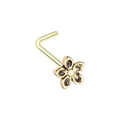 Golden Antique Heirloom Flower L-Shape Nose Ring