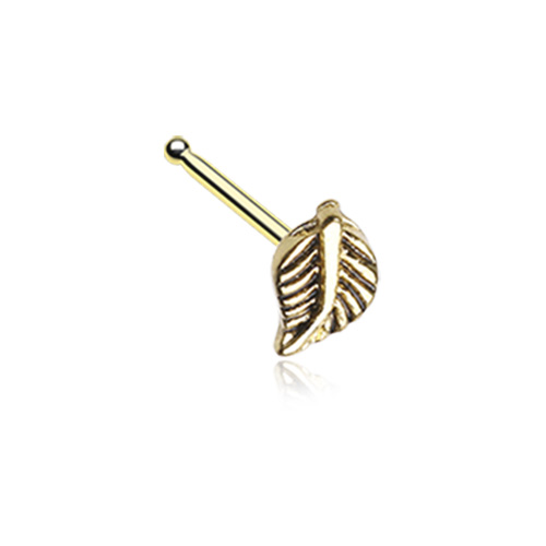 Golden Vintage Leaf  Nose Stud Ring