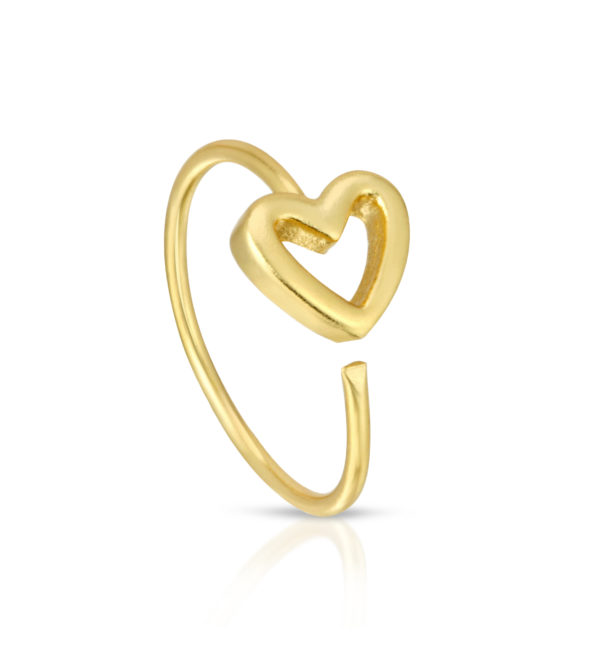 Gold Heart twist Nose Hoop ring