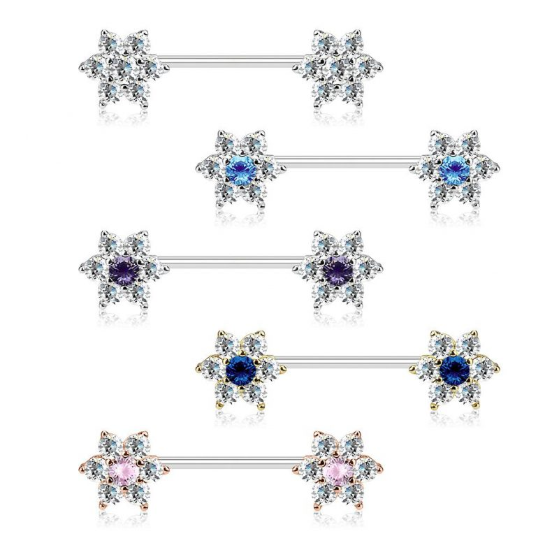 CZ Flowers on Both Ends 316L Surgical Steel Barbell Nipple Rings