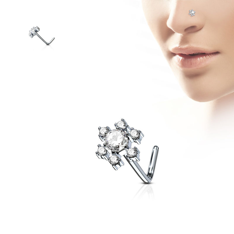 CZ Flower 316L Surgical Steel L Bend Nose Stud Rings