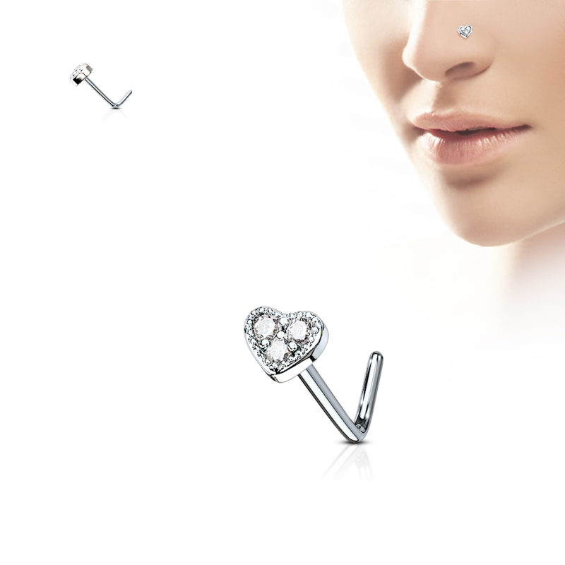 3 CZ Paved Heart L Shape Nose Rings