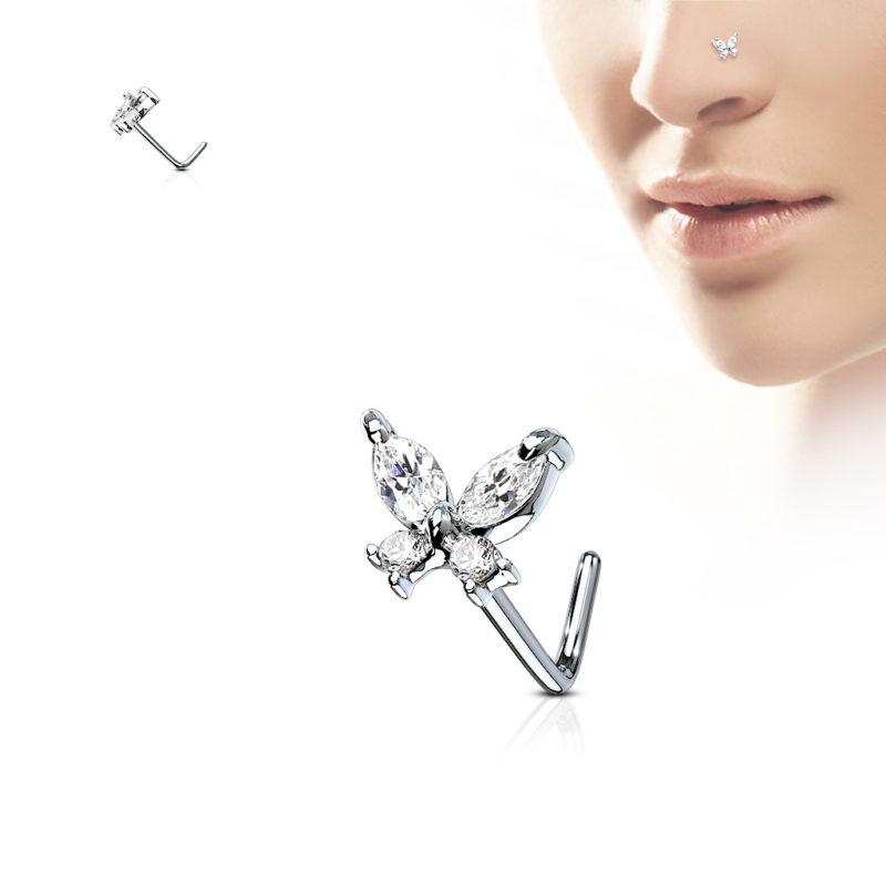 CZ Butterfly 316L Surgical Steel L shape Nose Ring