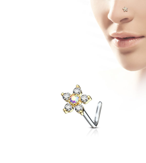 6 CZ Flower Top L shape Nose ring