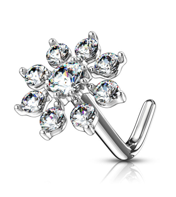 Double Tiered CZ Starburst Top 316L Surgical Steel L Bend Nose Stud Rings