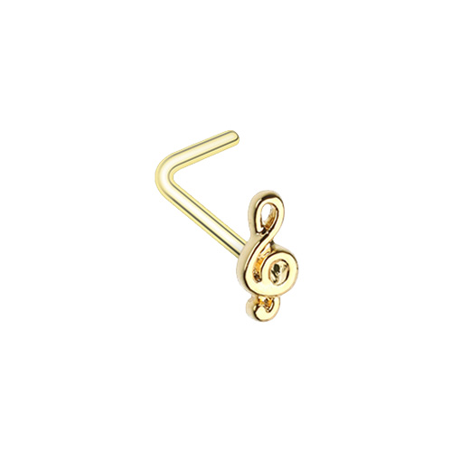 Golden Treble Clef Music Note L-Shape Nose Ring