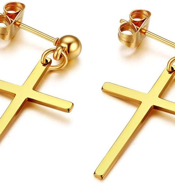 Drop Cross Push Back Earrings Studs