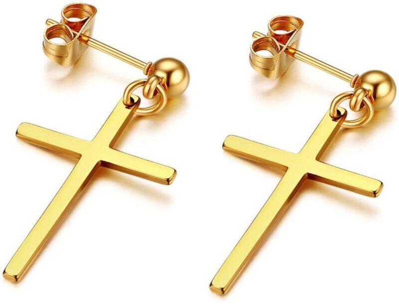 Drop Cross Push Back Earrings Studs