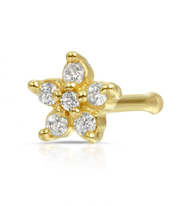 14k Gold Prong Set CZ Flower Nose Stud