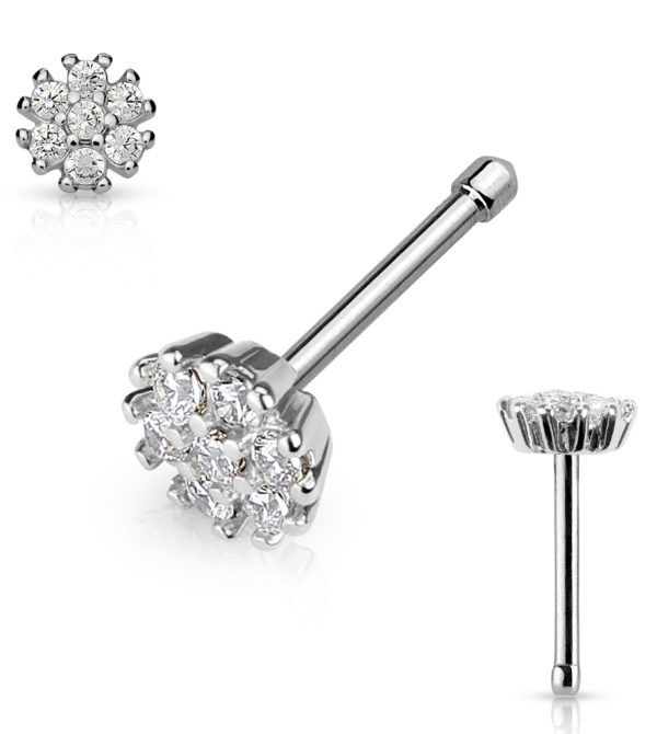 CZ Flower Top Stud Nose Ring