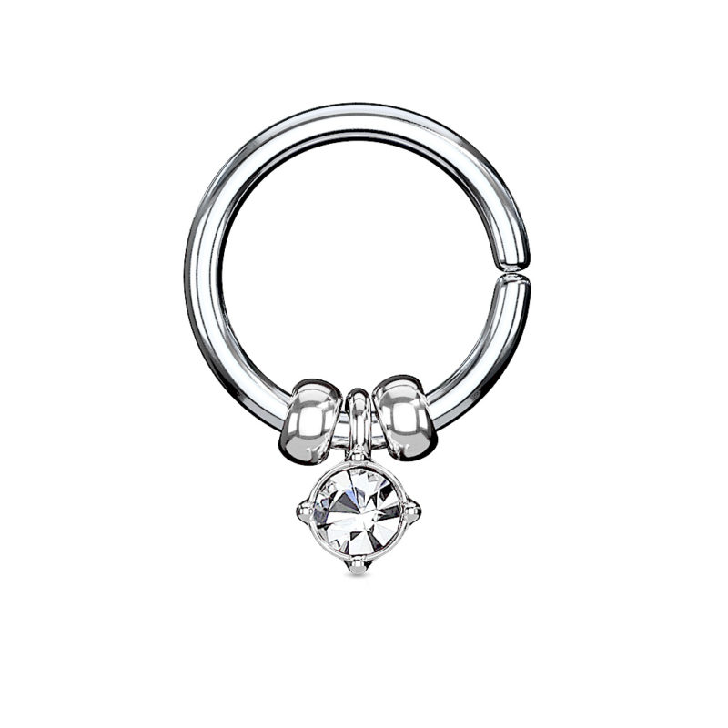 316L Surgical Steel Annealed Bendable Cut Ring with Removable Prong Set Crystal and Steel Beads