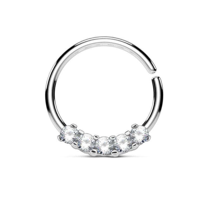 5 CZ Prong Set Bendable Septum/Cartilage Hoop Ring
