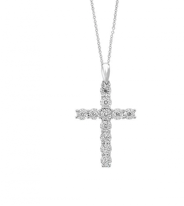 Sterling Silver ABA Set Cz Diamond Cross Necklace
