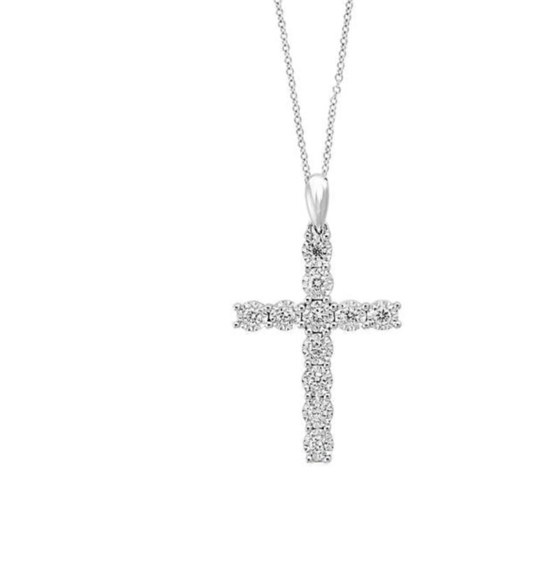 Sterling Silver ABA Set Cz Diamond Cross Necklace