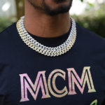 Men Sharp Cut Diamond Cuban Link Chain