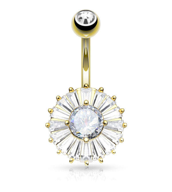 CZ Center and Princess Cut CZ Around Double Tier Round 316L Surgical Steel Belly Button Navel Rings