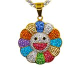Iced Out Murakami Flower Pendant Set