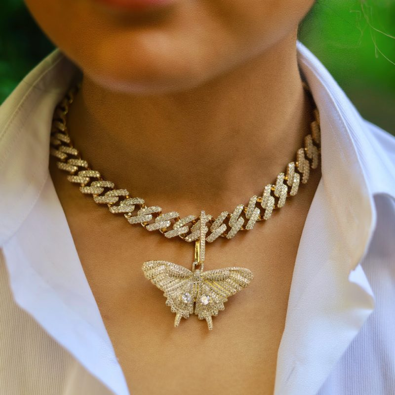 Iced Out Butterfly Pendant Set