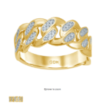10k Gold diamond Miami cuban link ring