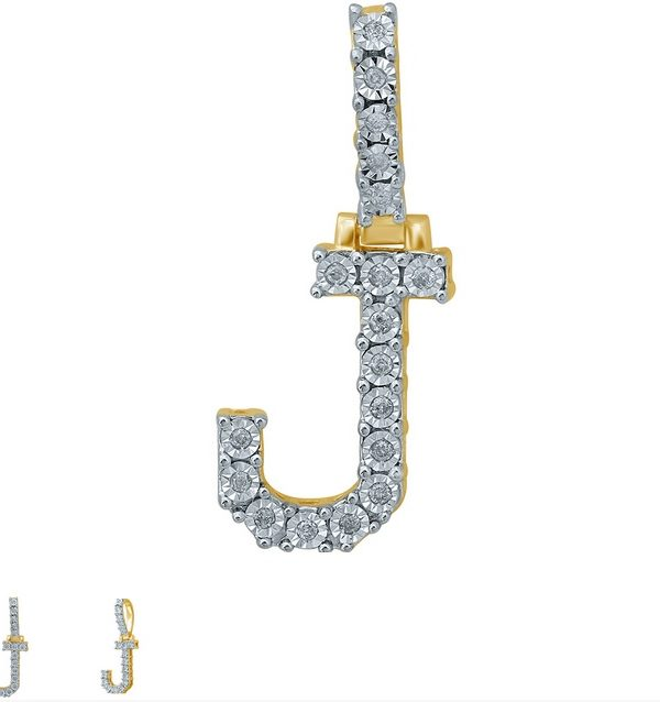 10kt gold diamond initial pendant L