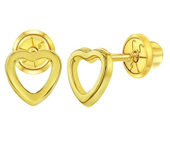 14k gold heart shape earring