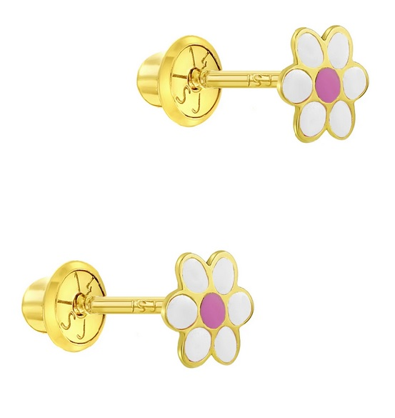 14k gold daisy earrings
