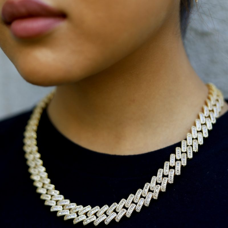 Woman Baguette Boss Cuban Link Chain