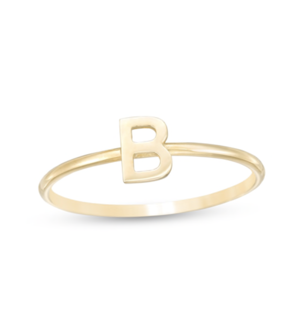 10k Gold Dainty Handcrafted Initial Ring