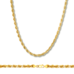 10k Gold 2.5mm hollow Diamond Cut Rope Chains