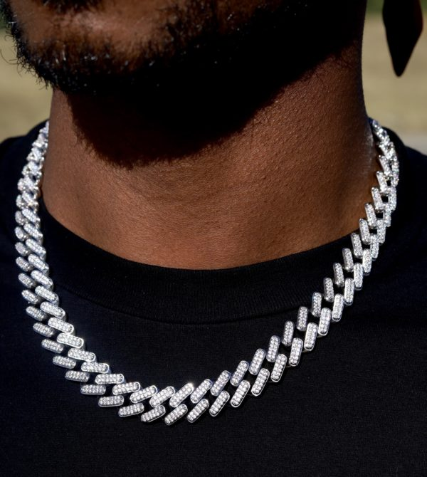 15mm Raised Prong Set Cuban link necklace
