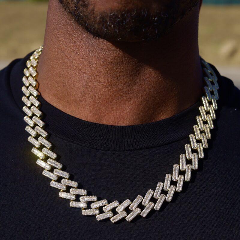 18mm Baguette Diamond Cuban necklace
