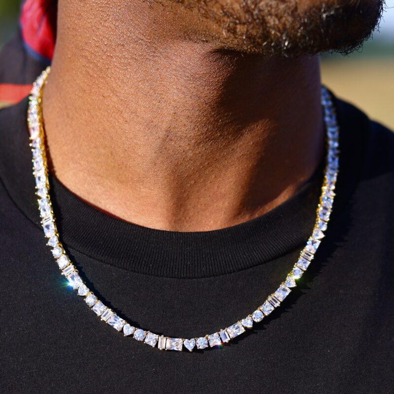 geometric tennis necklace