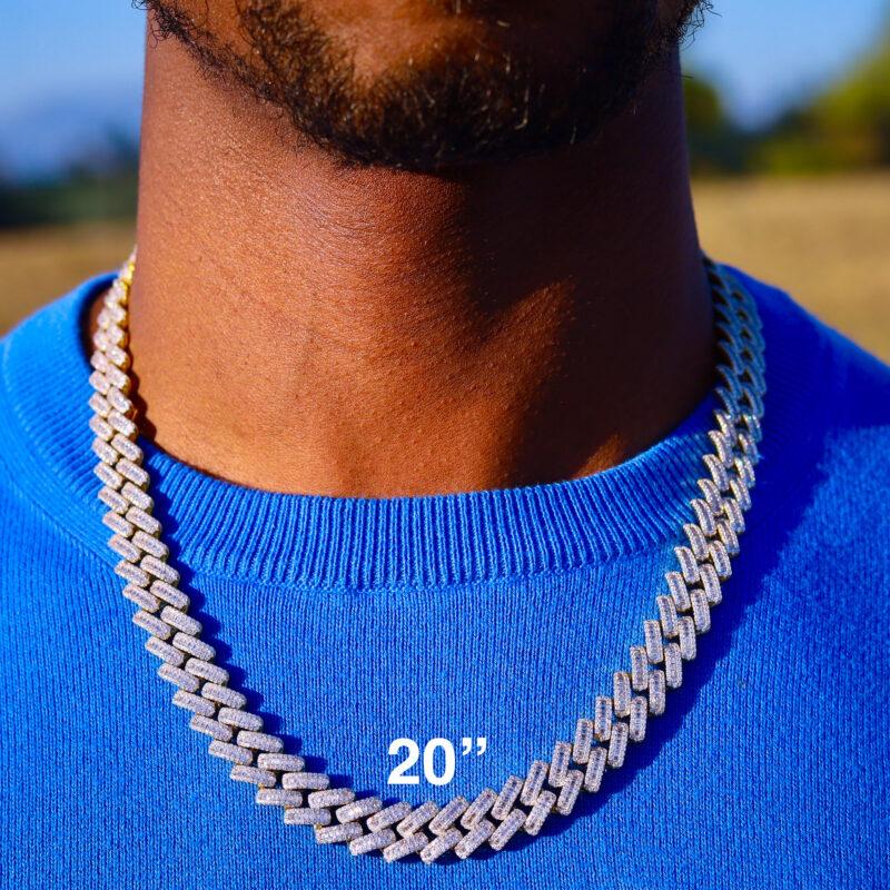 "Baguette Diamond Cuban Link Necklace 20"""