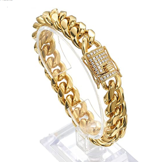 Men Miami Cuban Link SS Bracelet Diamond Clasp