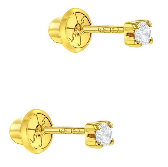 14k gold screw back earring