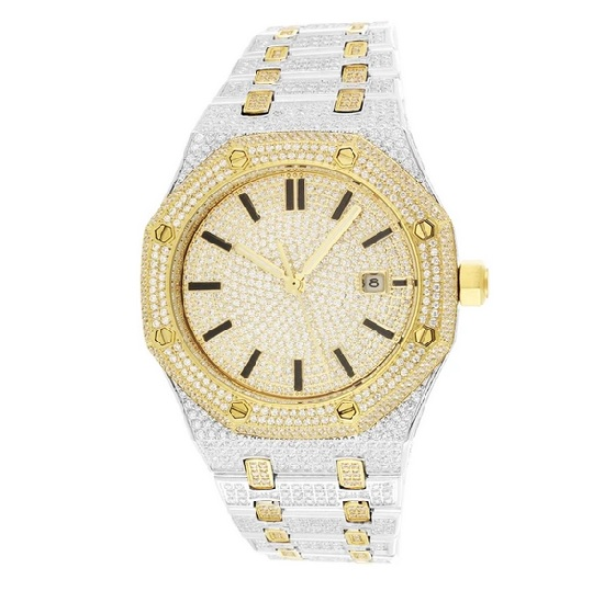 ABA Octagon Iced out POWA Watch two tone