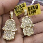 10K Gold Hamsa Diamond Pendant. The pendant has 1.48 Carats of Vs quality diamonds.