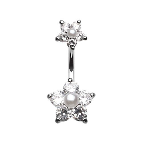 Clear Pearl Flower Sparkle Belly Button Ring