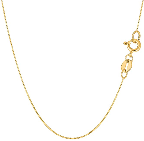 10k Gold Unisex Box Chain Necklace 1mm