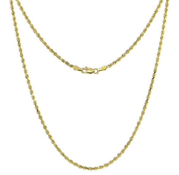 10k Solid Gold Diamond Cut Rope Chain