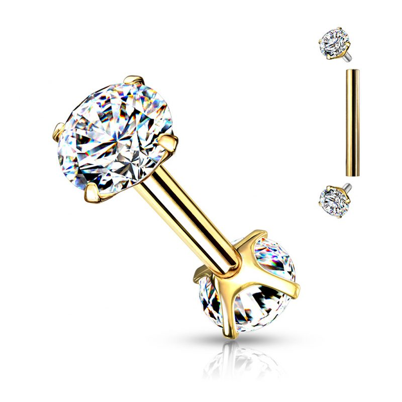 Threaded Barbells with Prong Set CZ On Both Ends