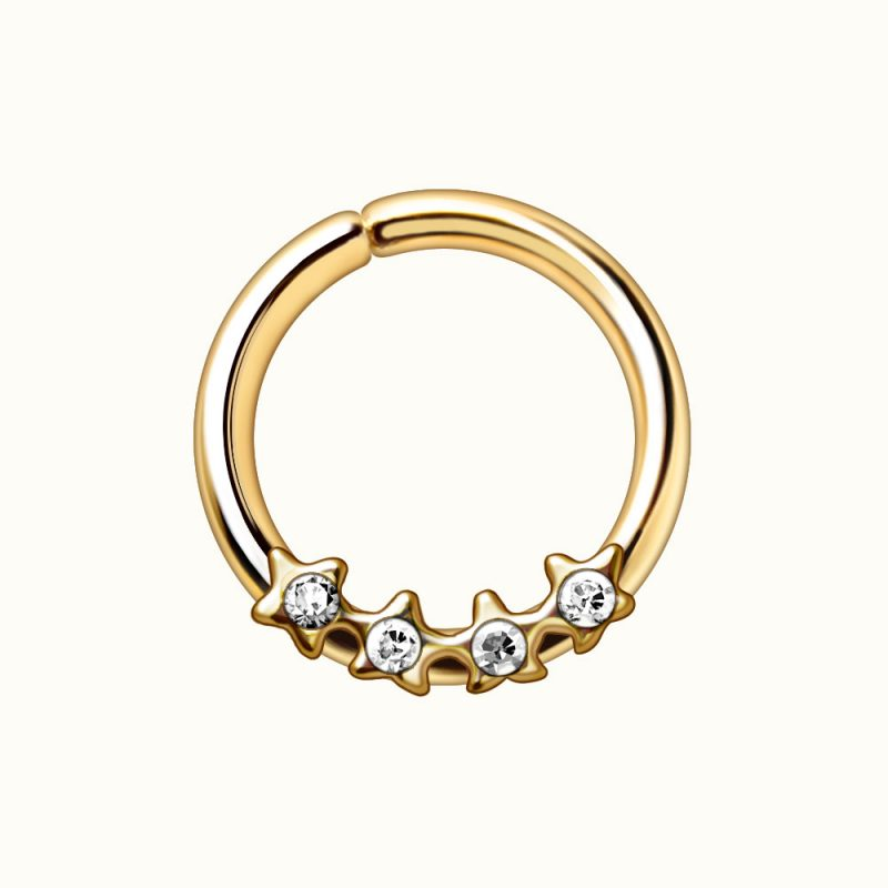 Gold Plated Jeweled Stars Annealed Seamless Ring