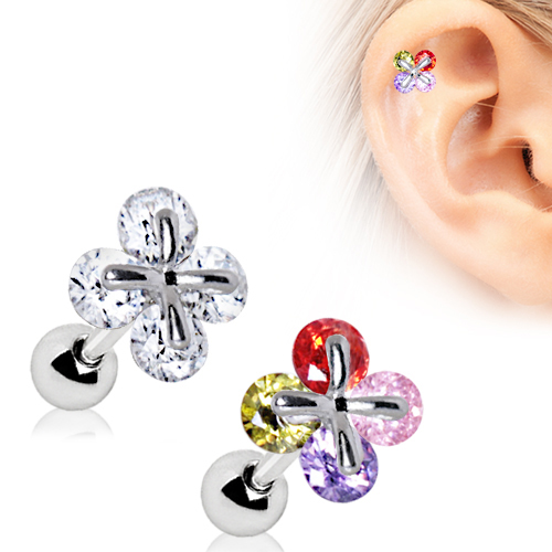 Art Of Brilliance Adorned Quatrefoil Cartilage Earring