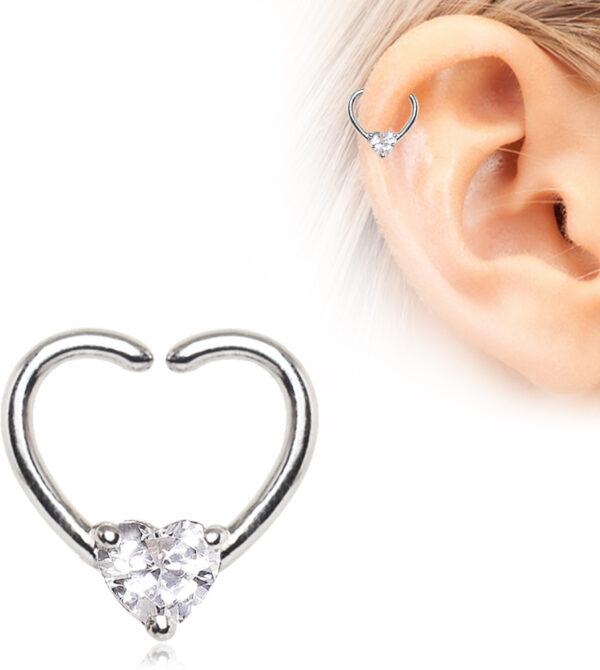 Jeweled Hearts Shaped Seamless Ring