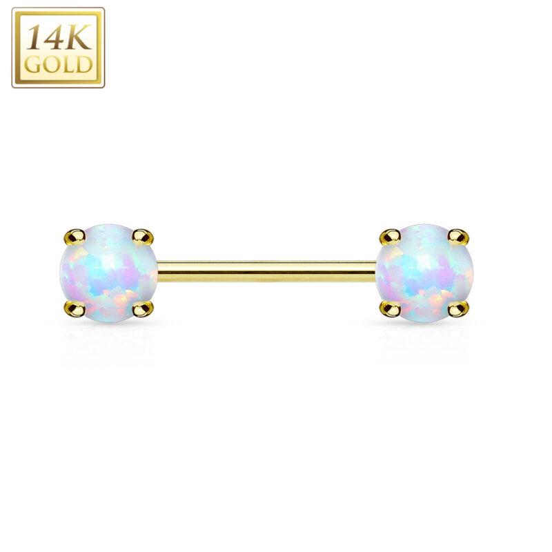 Double Prong Set Opal Stone 14K Gold Nipple Bar