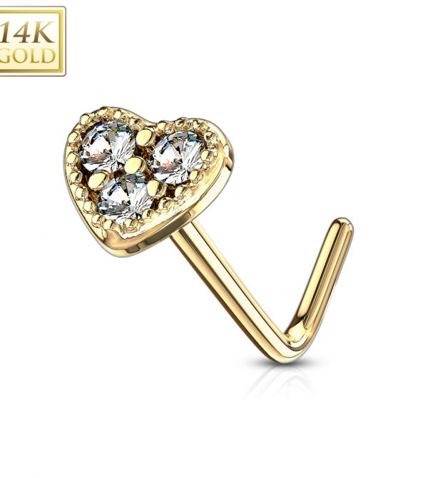 Gold L Bend Nose Stud Rings with 3 CZ Set Heart Top