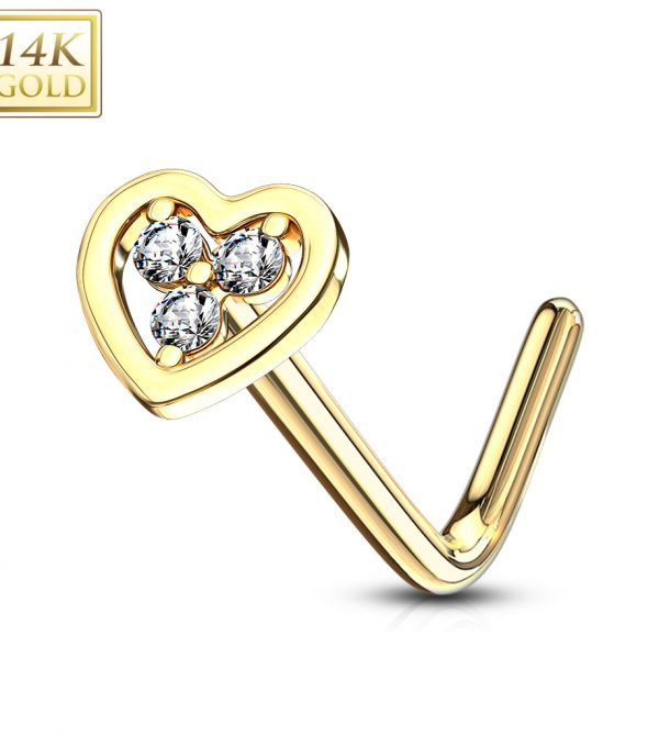 L Bend Nose Ring Tri Stacked Round CZ Hollow Heart
