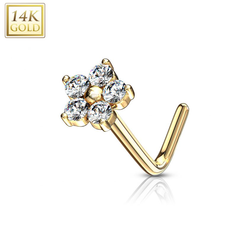 L Bend Nose Stud Rings with CZ Flower Top